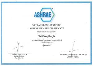 Members Certificate ASHRAE Since 1987